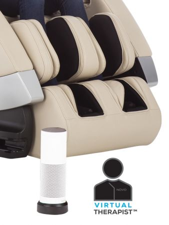 Super Novo Massage Chair - cream chair - showing Alexa and Virtual Assistant