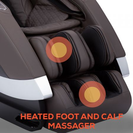 Super Novo Massage Chair - espresso chair - showing foot and calf massager