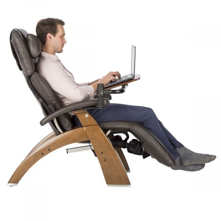 Profile view of man using Perfect Chair Laptop Desk
