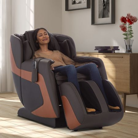 Sana Massage Chair in Espresso - Shown in a room with woman in chair