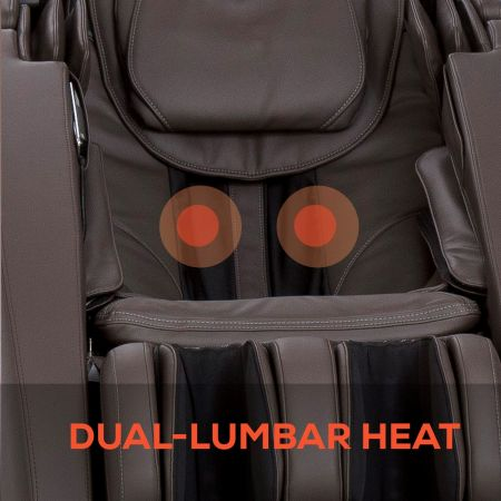 Close-up to show up of dual-lumbar heat on Novo XT