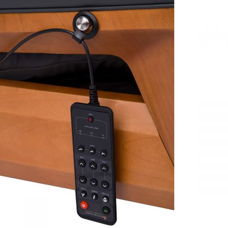 Close up of remote control on hook for Gravis ZG Chair