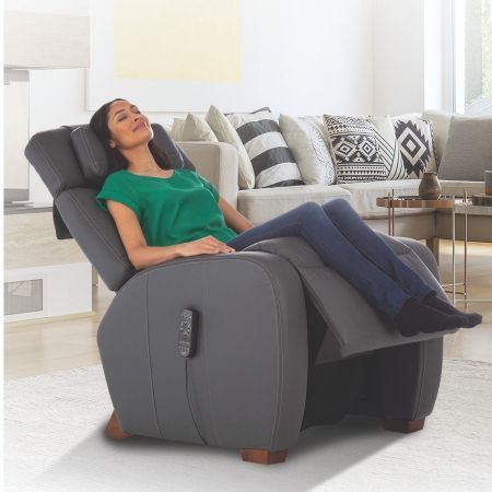 Woman reclined in her gray Lito recliner