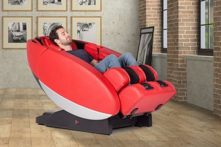 Novo XT2 Massage Chair in Red - Shown in a Room with a Person