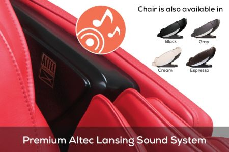 Novo XT2 Massage Chair in Red - Speaker System Close-Up
