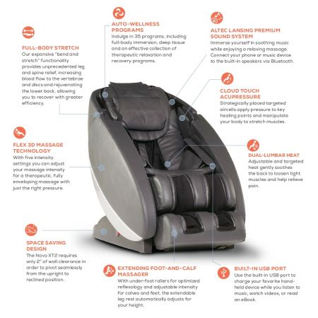 Novo XT2 Massage Chair in Gray - Callouts