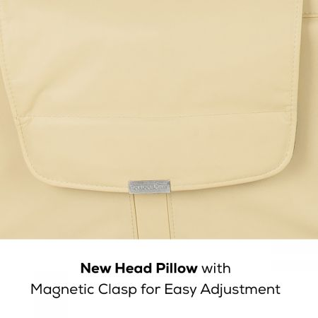 close up of head pillow with magnetic clasp