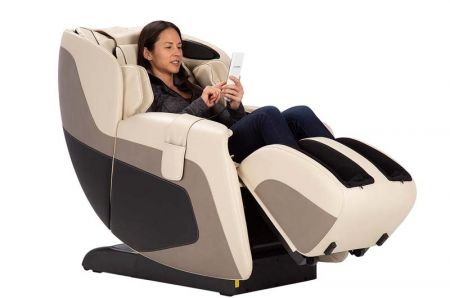 Sana Massage Chair in Cream - Woman in Chair