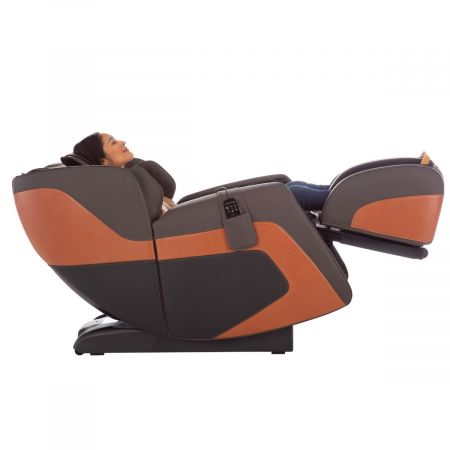Sana Massage Chair in Espresso - Side View Reclined with a Person
