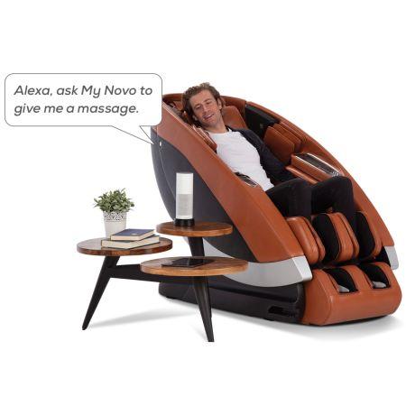 Super Novo Massage Chair - Saddle upholstery showing Alexa Capability