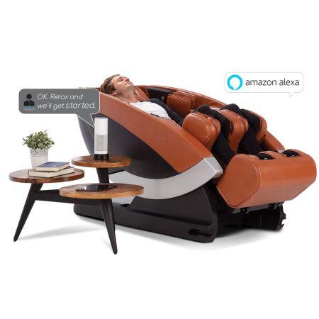 Super Novo Massage Chair - Saddle upholstery showing Alexa Capability with massage