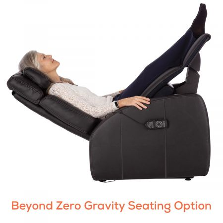 Woman in beyond zero gravity seating in black Lito recliner