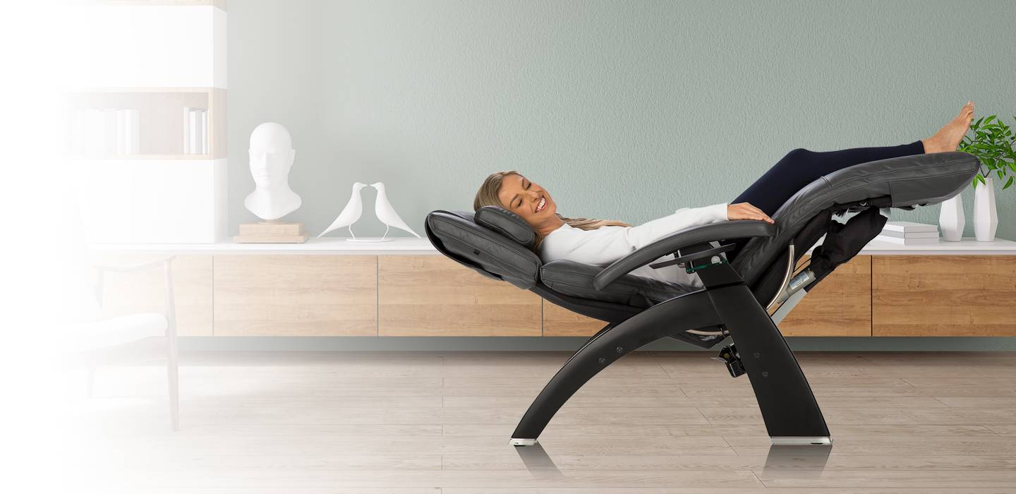 woman in the human touch zero gravity recliner