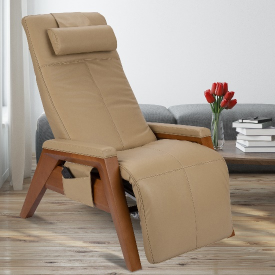Gravis ZG Chair in Sand upholstery with a Beech base