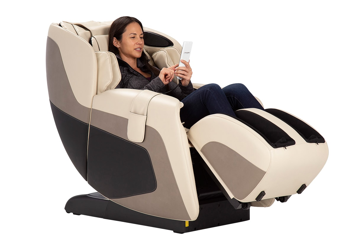 human touch massage chair girl sitting