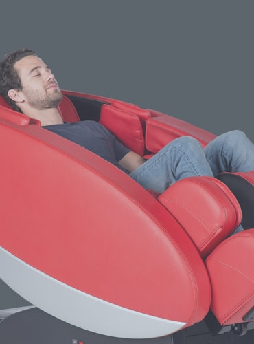 human touch massage chair red man sitting