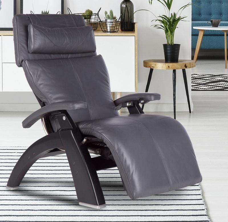grey leather zero gravity chair