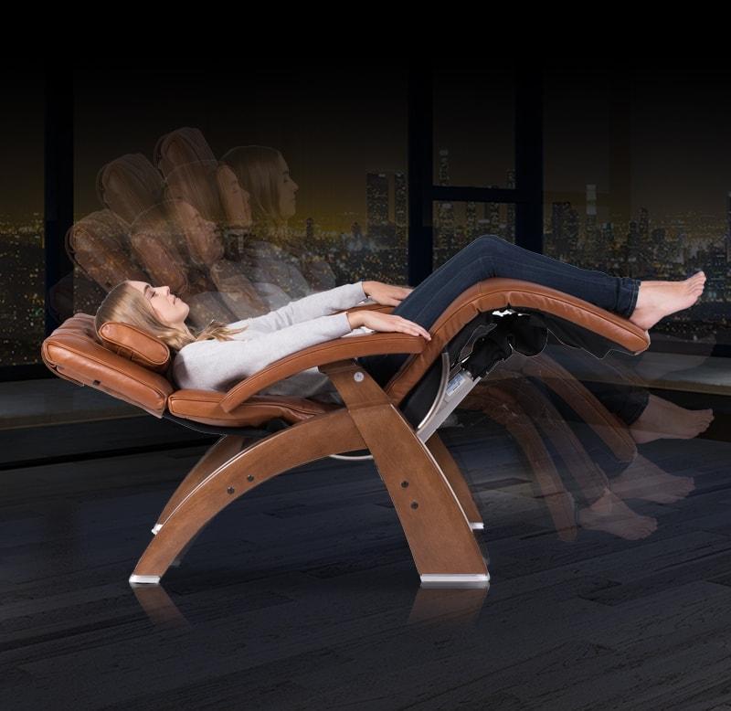 Girl lying on zero gravity chair width=