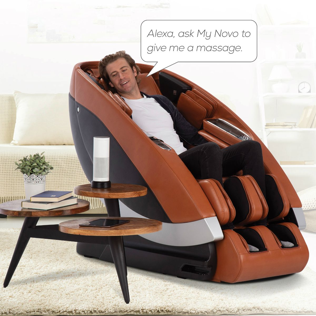 Man in Super Novo Massage Chair talking to Amazon Alexa device